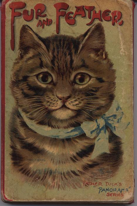 FUR AND FEATHER cat with blue bow