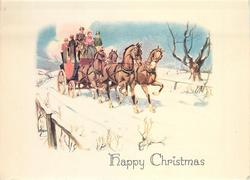 HAPPY CHRISTMAS stagecoach travels forward, right, along snow rural road