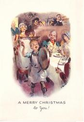 A MERRY CHRISTMAS TO YOU!  boy hits platter with spoon, girl brings in Xmas pudding, guests at table
