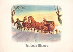 ALL GOOD WISHES man assists stagecoach horses up snowy hill, yellow sunset