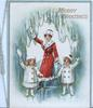 MERRY GREETINGS in gilt, skating mother & 2 children wave, large perforation, icy blue design around