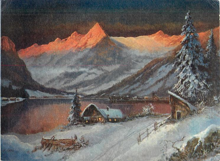 no front title, water front cabin in snow at night, prominent mountains