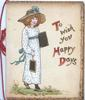 TO WISH YOU HAPPY DAYS(T,H &D illuminated) girl in old style dress waks right carrying 2 slates