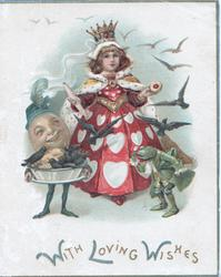 WITH LOVING WISHES in blue & gilt below Queen of Hearts, egg-man carrying tarts from which birds are flying, frog dressed in green