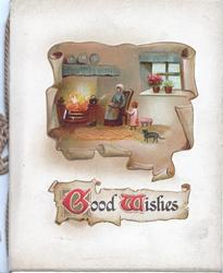 GOOD WISHES(G & W illuminated), irregular inset cottage interior, woman & child by blazing fire watched by black cat