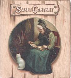 SWEET CONTENT on wooden plaque above, circular inset cottage interior, woman sitting reading, white cat left
