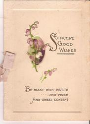 SINCERE GOOD WISHES BE BLEST WITH HEALTH AND PEACE AND SWEET CONTENT heathers in inset