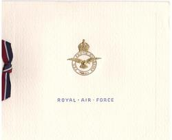ST. ATHAN (inside) ROYAL AIR FORCE below gilt crest & motto, ribbon applique (front)