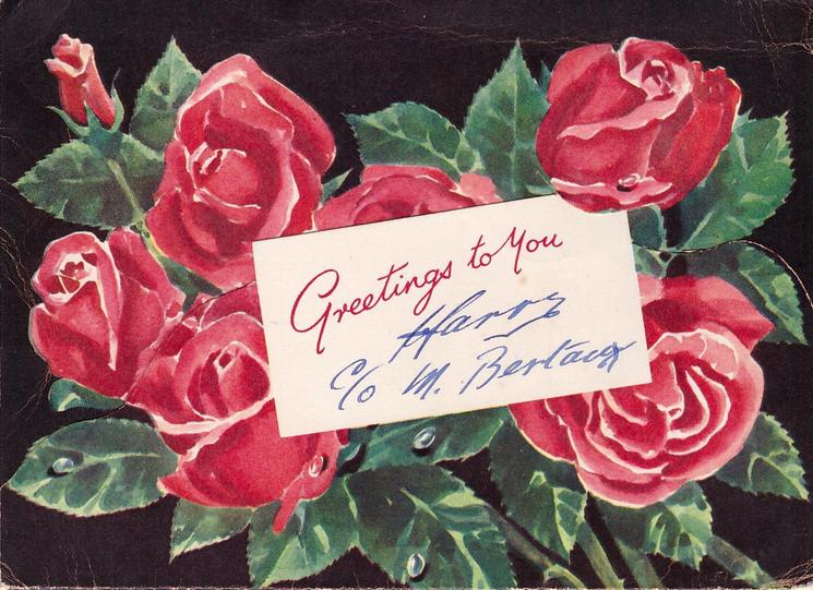 GREETINGS TO YOU on white inset, red roses on black background