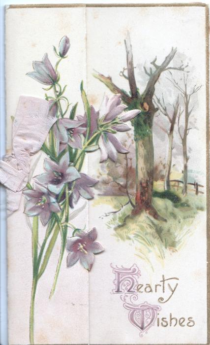 HEARTY WISHES(H &W illuminated) below purple campanulas on left flap, woodland right