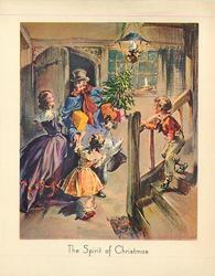 THE SPIRIT OF CHRISTMAS father enters home carrying gifts, goose & small Xmas tree, greeted by family
