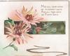 MAY ALL YOUR WAYS BE PLEASANT WAYS AND ALL YOUR DAYS BE HAPPY DAYS in gilt, orange chrysanthemums over green inset