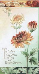 TO WISH YOU WELL IN THIS AND EVERY SEASON in gilt, orange chrysanthemums