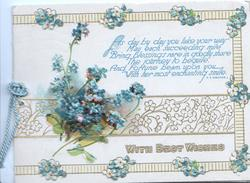 WITH BEST WISHES in gilt below quote & forget-me-not design