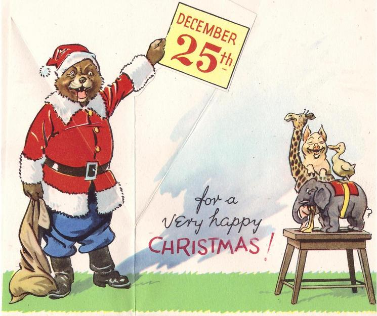 BRINGING YOU BEST WISHES bear dressed as Santa holds DECEMBER 25TH sign