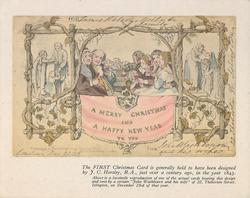 THE FIRST CHRISTMAS CARD people sit at table behind trellis, A MERRY CHRISTMAS AND A HAPPY NEW YEAR TO YOU on banner