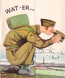 WAT-ER soldier sits on rock facing right, drinking water from flask