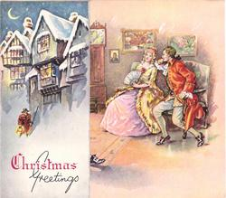 CHRISTMAS GREETINGS man with lantern in front of buildings on panel left, couple sits right