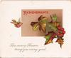 REMEMBRANCE above large ivy leaves, bird in flight