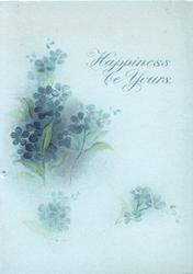 HAPPINESS BE YOURS above right, forget-me-nots around, pale blue/white background