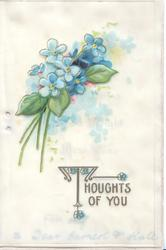 THOUGHTS OF YOU in gilt below forget-me-nots