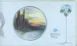 WISHES TRUE in silver between circular rural inset & forget-me-not design right