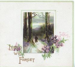 LEST WE FORGET in gilt beside evening rural inset of trees & a person purple heather below, cream background