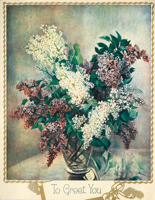 TO GREET YOU white & purple lilacs in glass vase