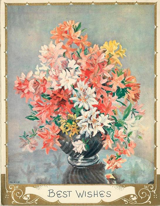 BEST WISHES orange, yellow & white flowers in vase