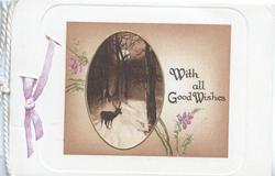 WITH ALL GOOD WISHES in brown right of oval inset winter forest scene with stag, scant purple heather