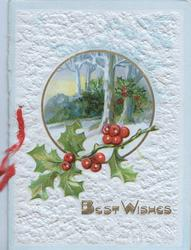 BEST WISHES in gilt below circular rural inset & berried holly, embossed white backgrouind