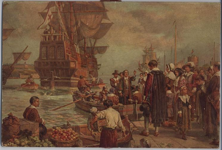 THE DEPARTURE OF THE PILGRIM FATHERS FROM PLYMOUTH, 1620 (title on reverse)
