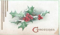 GREETINGS(illuminated G)  right, central berried holly, pale green background