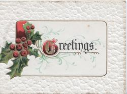 GREETINGS(illuminated G) centrally on white plaque, berried holly left, embossed white  background