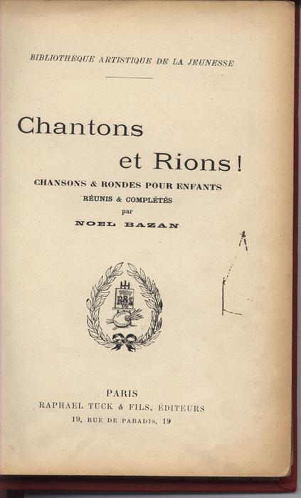 CHANTONS & RIONS! CHANSONS & RONDES POUR ENFANTS red covers with gold accents,