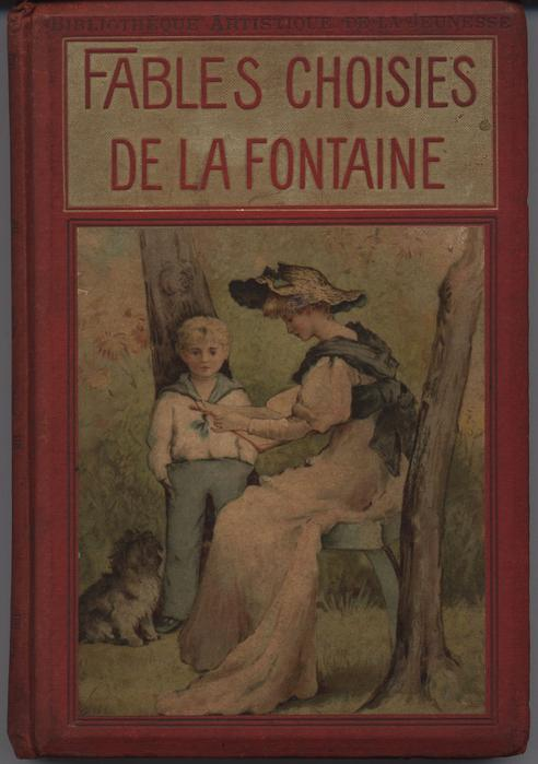 FABLES CHOISIES DE LA FONTAINE, red covers with gold accents,