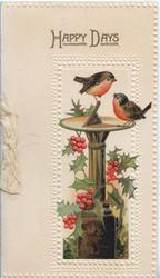 HAPPY DAYS in gilt,  inset berried holly around sundial with 2 birds of happiness, embossed cream background