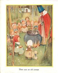 THERE WAS AN OLD WOMAN  woman in red cloak & giant hat stirs cauldron, many children surround