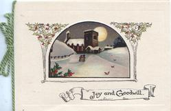JOY AND GOODWILL on white plaque below moonlit winter rural inset between holly designs