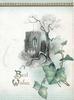 BEST WISHES(B & W illuminated) lower left, winter scene, tree & church above ivy