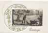 GREETINGS in gilt below inset rural scene, man sweeping leaves, stylizesd  ivy in circular design left