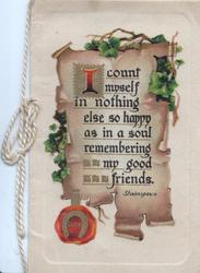 I COUNT MYSELF IN NOTHING....  FRIENDS on brown plaque, ivy left, LUCK on seal