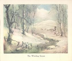 THE WINDING STREAM winding stream through sparse woodland in winter, man with sheep distant right