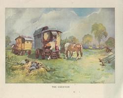 THE CARAVAN two horses graze near caravan in spring field, people rest on haystack