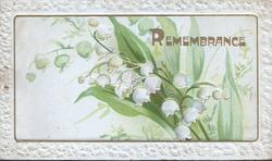 REMEMBRANCE in gilt, gilt framed lilies-of-the-valley, embossed white margins