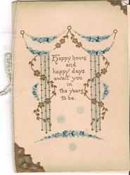 HAPPY HOURS AND HAPPY DAYS AWAIT YOU IN THE YEARS TO BE strings of forget-me-nots