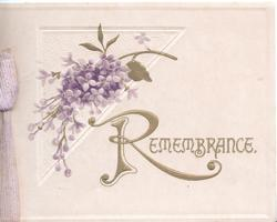 REMEMBRANCE(R illuminated) in gilt below purple lilac over triangular design