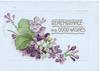 REMEMBRANCE AND GOOD WISHES in gilt above purple & white lilac
