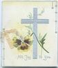 ALL JOY TO YOU in silver below silver cross & purple/yellow pansy