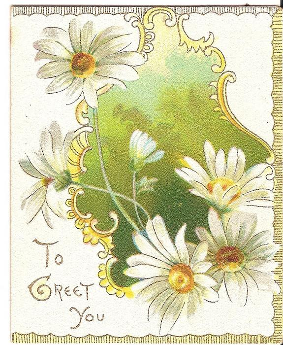 TO GREET YOU in gilt to the left of exaggerated daisies